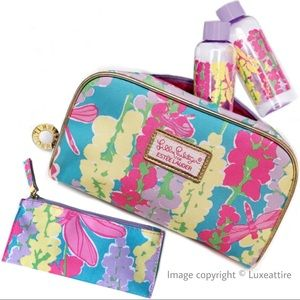 4 Pc Set Lilly Pulitzer Makeup Bag 2 Bottles Pouch